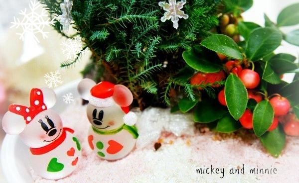 ミッキーマウス&ミニーマウス クリスマス 鉢植え