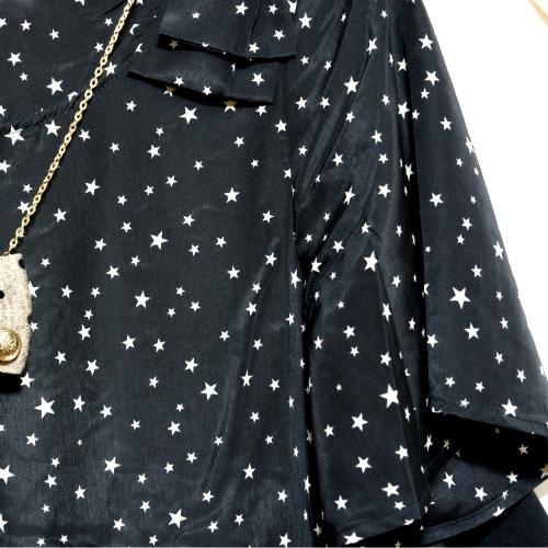 ワールドオンライン04grove 星柄ブラウスセット七分袖ワンピース