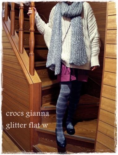 crocs gianna glitter flat w クロックス ジアンナ グリッター フラット ウィメン