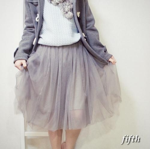 フィフス fifth【2014A/W】チュールミモレ丈フレアスカート