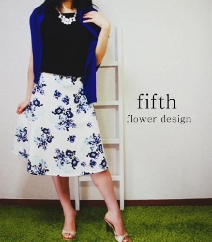 フィフス fifth フラワーフレアミディスカート コーディーネート 2015ss