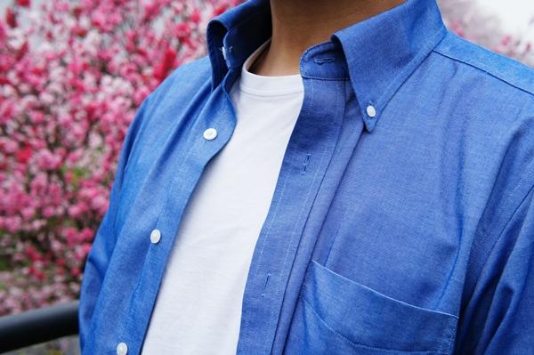 ランズエンド立体Xシャツ メンズ・ノーアイロン・スーピマ・オックスフォード/無地/ボタンダウン/ベーシックフィット/長袖
