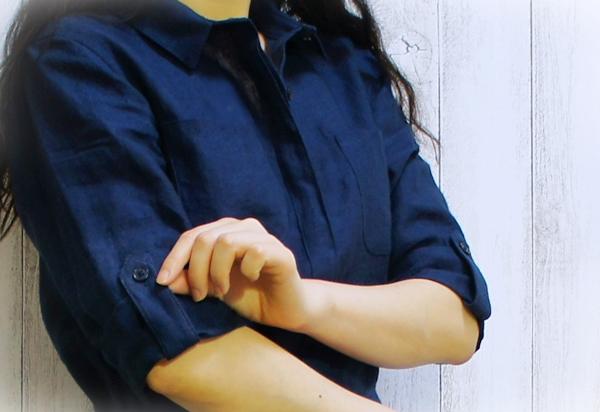 ランズエンド レディス・ウォッシャブル・リネン・シャツドレス/ロールアップ袖