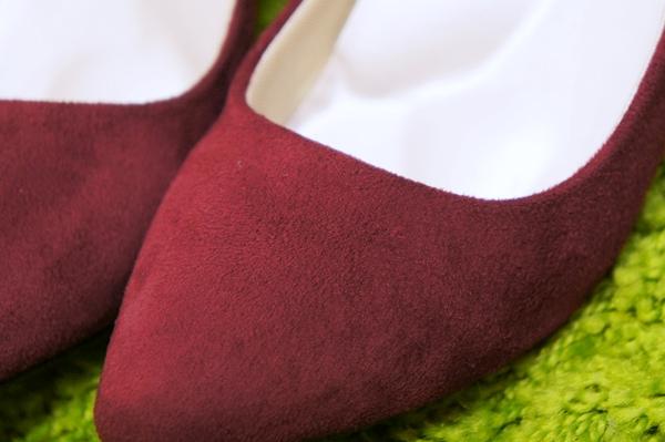 イマージュ スエード靴 ボローニャローヒールパンプス