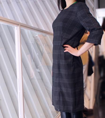 ランズエンド レディス・美型シルエット・スムーズストレッチ・ドレス/柄/七分袖