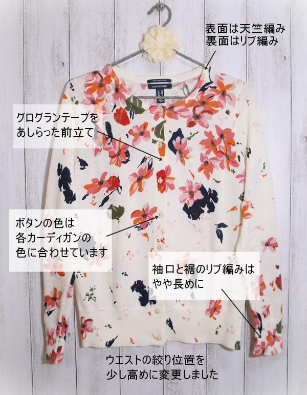 ランズエンド 花柄 レディス・スーピマ・ファインゲージ・カーディガン/柄/長袖