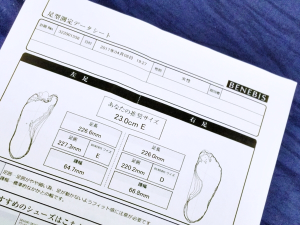 ベルメゾン ベネビス 足の3D計測 測定結果