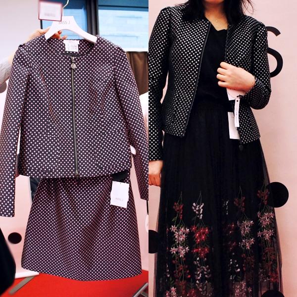 MISS J(ミス ジェイ)LAPINE (ラピーヌ)2017年秋冬コレクション ドットジャカード裏キルトジャケット