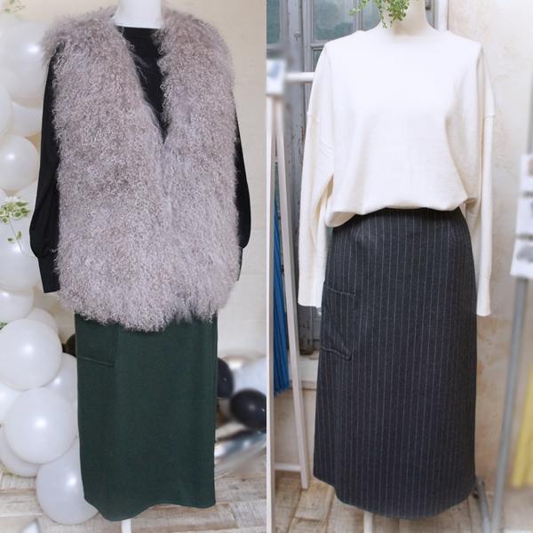 ミモレコラボ 大草直子 ベルメゾン SUPER100's使用ウールサキソニーミディ丈スカート