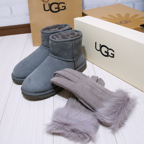 UGGアグ クラシックミニ グレー シープスキンブーツ ムートンブーツ