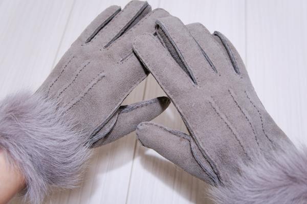 UGGアグ w shpskin gl v ダブルシープスキングローブ グレー 手袋 羊 トスカーナファー