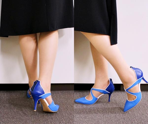 ベルメゾン イタリア靴 日本製本革クロスラインパンプス(ベネビス)