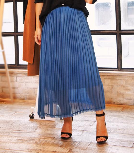 ミモレコラボ 大草直子 ベルメゾン 裾フリンジプリーツスカート