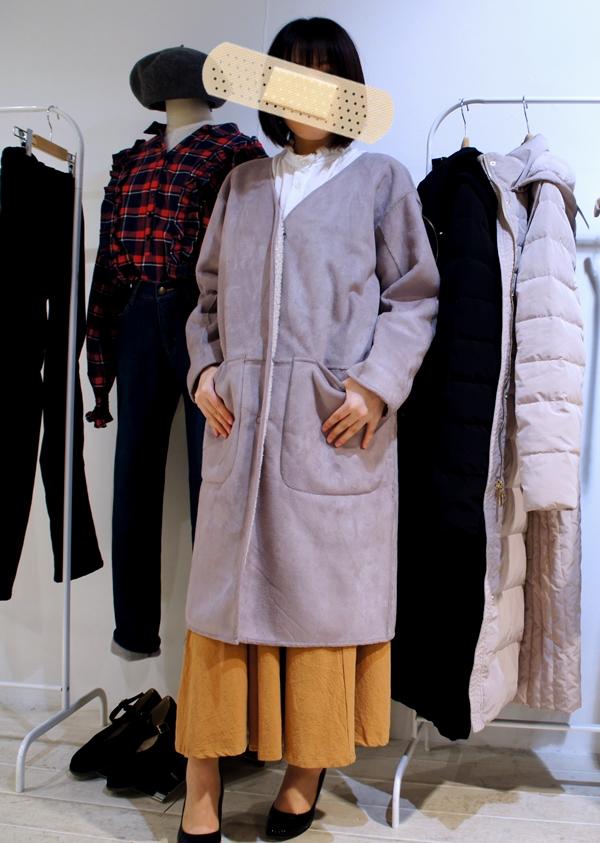 フェリシモ リブ イン コンフォート 軽やかに着られてしっかり暖か リバーシブルムートン風コート