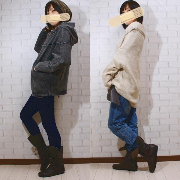 アンティカantiqua 日本製本革編み上げブーツ##