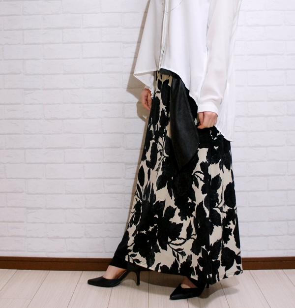アンティカantiqua センス欲張る、大人な品ある柄とシルエット。花柄ロングスカート