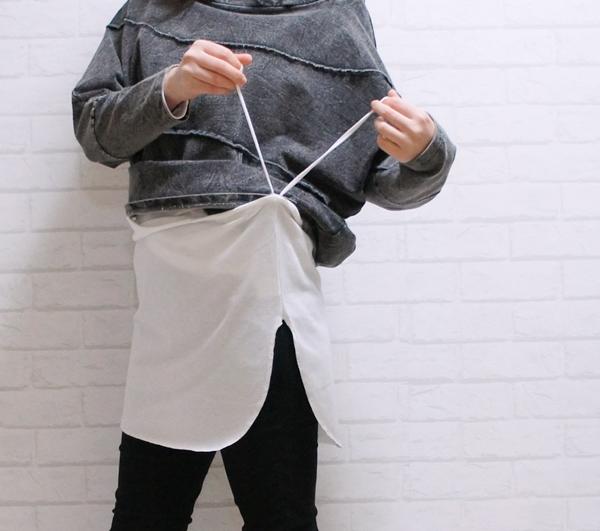 付け裾 レイヤード 重ね着風 体型カバー